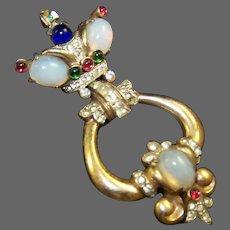 CORO CRAFT COROCRAFT Gene Verrecchio Sterling Crown Moonstone Doorknocker Pin