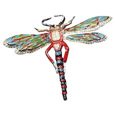 CORO Large Pave and Enamel Moveable/Tremblant Wings Dragonfly Pin