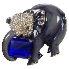 CORO CRAFT COROCRAFT Sterling Gray Enamel Pave Elephant Pin Carrying Sapphire Blue Stone