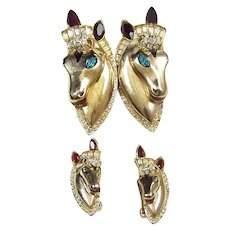 CORO CRAFT COROCRAFT Sterling Enamel Jeweled 'Thorobreds' Horse Head Duette/Clips/Pins and Clip Earrings