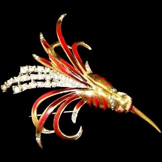 CORO CRAFT COROCRAFT Adolph Katz Sterling Enamel and Diamante Hummingbird Pin