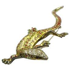 CORO Metallic Enamel Salamander/Lizard Pin