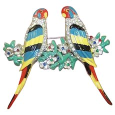 CORO Adolph Katz Enamel and Rhinestones Parakeets on a Branch Clips/Pins/Duette