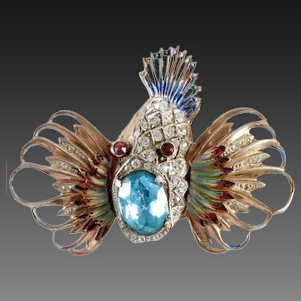 CORO CRAFT COROCRAFT Sterling Enamel Blue Topaz Crystal 'Rock Fish' Pin