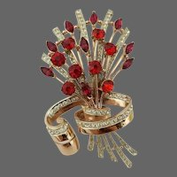 CORO CRAFT COROCRAFT Adolph Katz Sterling Large Scarlet and Pave Floral Ribbon Spray Pin