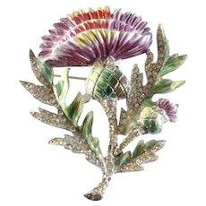 CORO 'Adolph Katz' 1940's Large Enamel and Pave Rhinestones Thistle Flower Pin