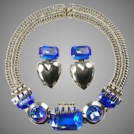 ZOE COSTE, France Cobalt Aurora Borealis Necklace and Heart Pendant Clip Earrings Set