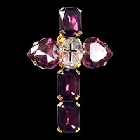 ZOE COSTE, France Large Amethyst Crystal Cross/Crucifix Pin