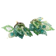 COPPOLA E TOPPO Clear and Shades of Green Crystal Beads Leaf Cufflinks