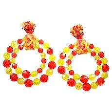 COPPOLA E TOPPO Massive Tangerine and Lemon Yellow Crystals Shoulder-duster Hoop Pendant Clip Earrings