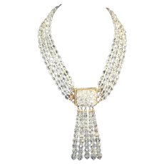 COPPOLA e TOPPO, Italy 3-Strand Clear Crystal Bead Choker Necklace with 'Tassel' Drops