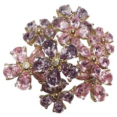 CHRISTIAN DIOR Pink Topaz and Amethyst Crystals Flower Pin