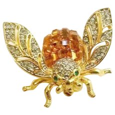 CHRISTIAN DIOR Invisibly Set Topaz and Diamante Pave Crystals Bee Pin