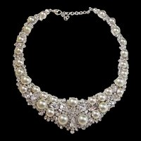 CHRISTIAN DIOR by Henkel and Grossé Pearl and Crystals Necklace