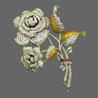 Rare, Large DUJAY DU-JAY (Unsigned) Enamel and Pave Rhinestones Rose Bouquet Pin