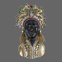 Rare, Large DUJAY DU-JAY Enamel Asian Princess Pin with Dragon Headdress