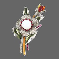 DUJAY DU JAY Pave, Enamel and Glass Cabochon Floral Pin