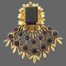 De ROSA DeROSA Sterling Garnet Floral Clip/Pin