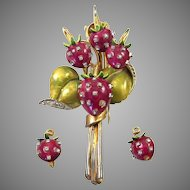 DeROSA De ROSA Enamel and Diamante Studded Strawberry Clip/Pin and Clip Earrings Set