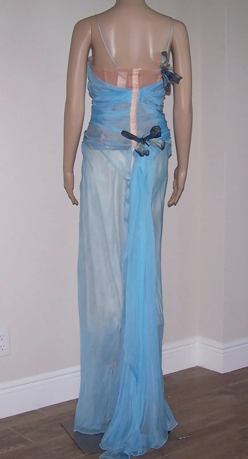 3d83db9df4c2 DOLCE & GABBANA 1998 Blue Chiffon Butterfly Gown w/Train Sz. 44/6. Click to  expand