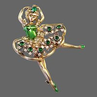 EISENBERG Sterling Metallic Green Enamel Emerald Green & Diamante Crystal 'Ballerina' Pin