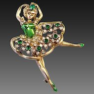 EISENBERG Sterling Metallic Green Enamel Emerald Green & Diamante Crystal 'Ballerina' Pin
