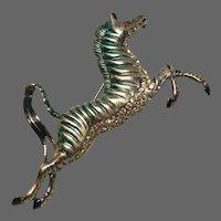EISENBERG ORIGINAL Sterling Enamel and Pave Zebra Pin