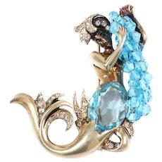 EISENBERG Sterling Ruth Kamke Design Huge Enamel, Aquamarine Crystal Mermaid Pin