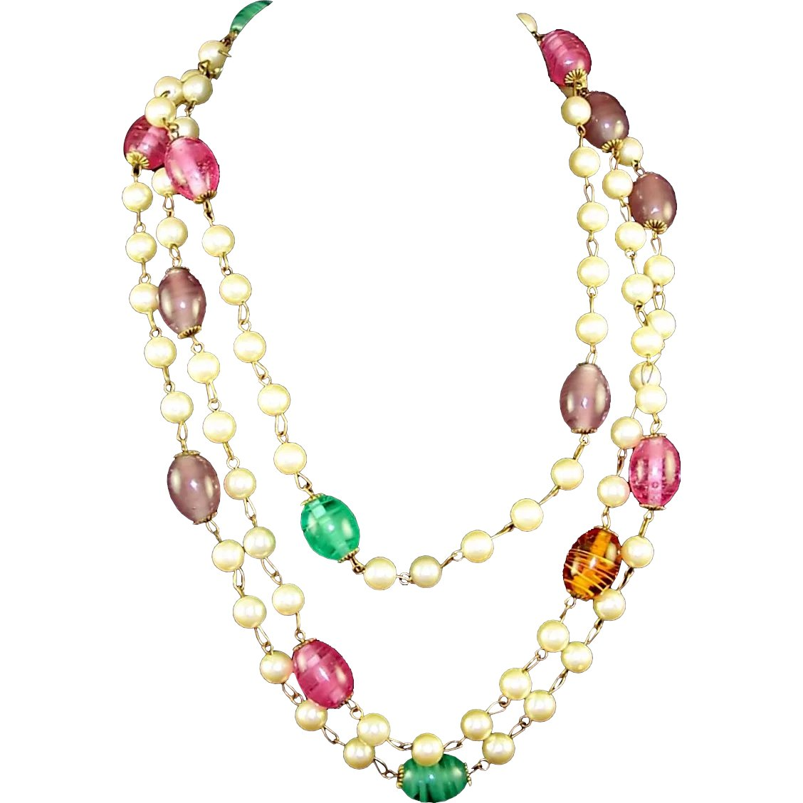 20e42a3be946d8 Gripoix Poured Glass Beads and Simulated Pearls Sautoir Necklace : Sharon's  Sparkles   Ruby Lane