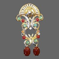 FRENCH Deco Simulated Jade and Carnelian Clip/Pin