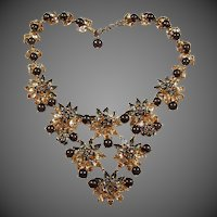 MADE IN FRANCE 'Black Diamond' Sapphire Blue and Diamante Crystals Hematite Beaded Floral Necklace