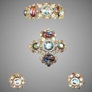 HAR Aurora Borealis Molded Glass Stones Clamper Bracelet, Maltese Cross Pin and Clip Earrings Set