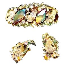 HAR Enamel Fantasy Stones Aurora Borealis 'Dragon Tooth' Clamper Bracelet Clip Earrings
