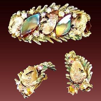 HAR Enamel Fantasy Stones Aurora Borealis 'Dragon Tooth' Clamper Bracelet Clip Earrings