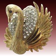 HAR 1950's Pave Swan Pin
