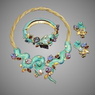 HAR Enamel, 'Fantasy Stones', Aurora Borealis Cobra Necklace, Bangle Bracelet and Clip Earrings Set