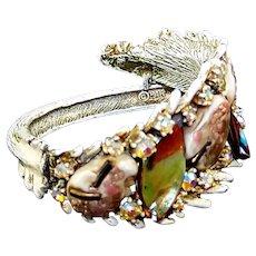 HAR Enamel Fantasy Stones Aurora Borealis Whitewash 'Dragon Tooth' Clamper Bracelet