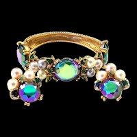 HAR Enamel, Peacock Aurora Borealis Glass Stones and Pearl Clamper Bracelet and Clip Earrings Set