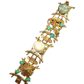 HAR 1950's Asian Motif, Jade and Aurora Borealis Links Bracelet