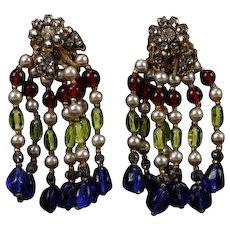 MIRIAM HASKELL Faux Pearl & Multi-color Glass Bead Tassel-Drop Clip Earrings