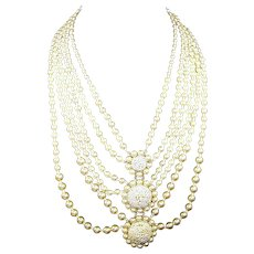 MIRIAM HASKELL 6-strand Graduated Length Faux Pearl 3-Pendants Bib Necklace