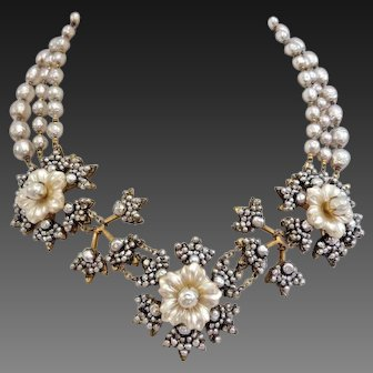 MIRIAM HASKELL 3-Strand Baroque Pearls and Floral Necklace