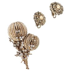 MIRIAM HASKELL Seed Pearl and Rhinestone Double Flower Pin and Button Clip Earrings