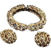 HATTIE CARNEGIE 'Black Diamond' Crystal 'Caged' Bangle Bracelet & Clip Earrings Set