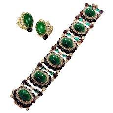 HATTIE CARNEGIE Moghul-style Emerald, Ruby and Diamante 6-Link Bracelet and Clip Earrings Set