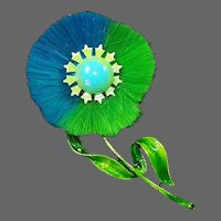 HATTIE CARNEGIE (Unsigned) Retro Lime Green and Teal Blue Fabric and Enamel Flower Pin