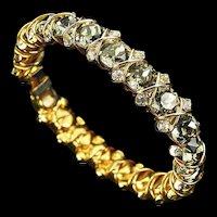 HATTIE CARNEGIE 'Black Diamond'/Smoke Gray 'Hugs & Kisses' Bangle Bracelet