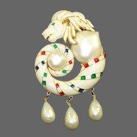 HATTIE CARNEGIE (Unsigned) Enamel Baroque Pearl and Triple Pendants Sea Lion Pin/Pendant