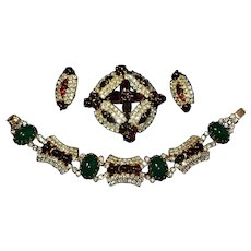 HATTIE CARNEGIE 'East Indian' Emerald, Ruby Cabochon Bracelet, Ruby Cabochon Pin and Clip Earrings