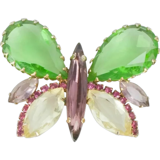 HATTIE CARNEGIE Large 1950's Pastel Crystals Butterfly Pin